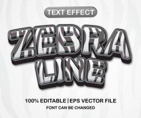 Zebra line 3d editable text style vector