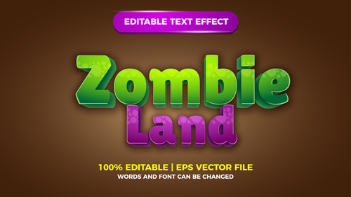 Zombie Land comic games editable text effect vector