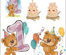 1st birthday cartoon vector