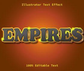 3D Empires editable text effect vector