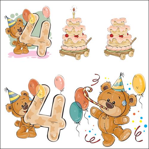 4th birthday cartoon vector