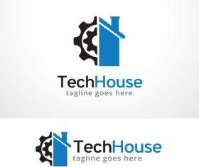 Abstract Tech House logo vector