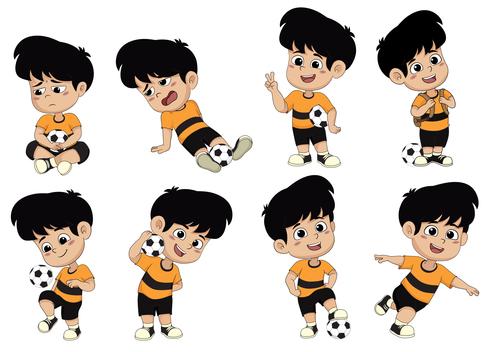 All kids soccer vector