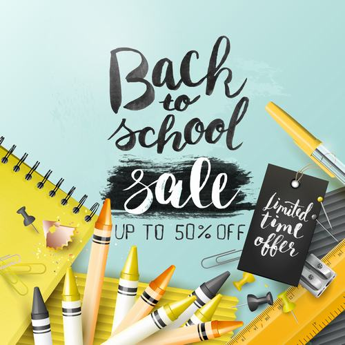 Back to school sale down vector
