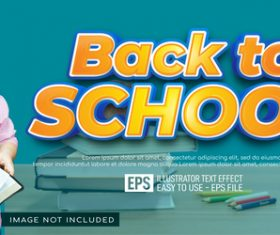 Back to school text editable style effect template vector