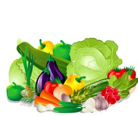 Baskets with vegetables in vector