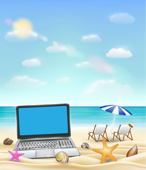 Beach and laptop vector