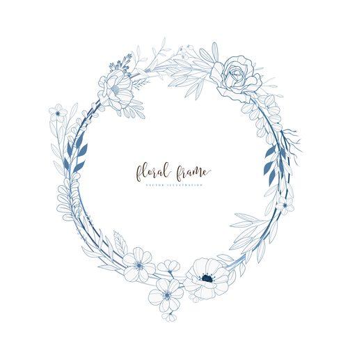 Beautiful flower decorative frame hand drawn vector