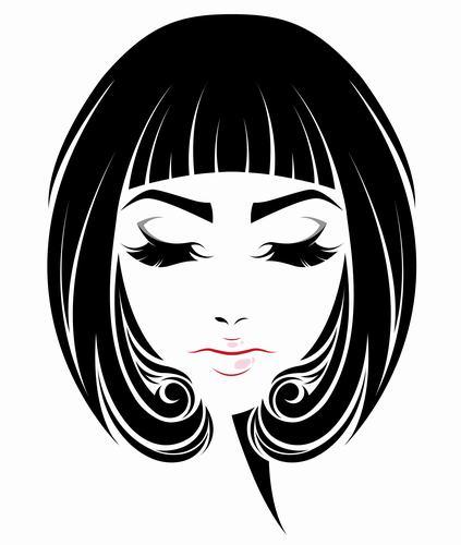 Beautiful girl BoBo hair style vector