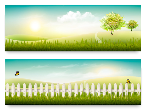 Beautiful scenery background banner vector