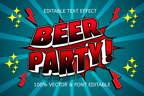 Beer party color tosca red editable text effect