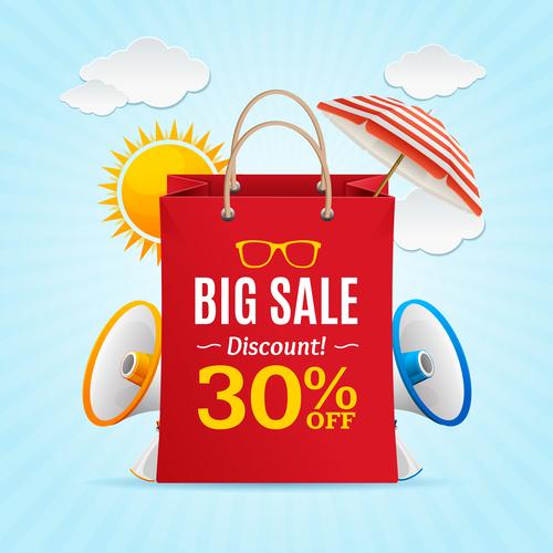 Big sale discount flyer vector