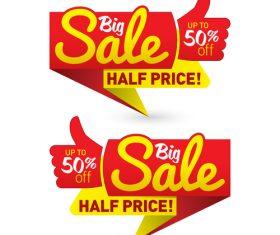 Big sale half price label vector