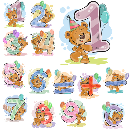 Birthday number and little bear cartoon vector