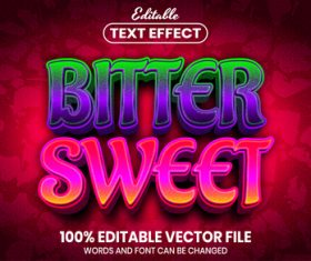 Bitter sweet text font style vector