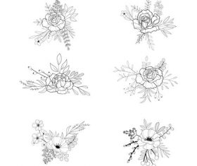 Black and white flower hand drawn vector