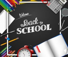 Black background back to school vector