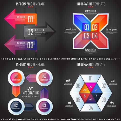 Black background infographic vector