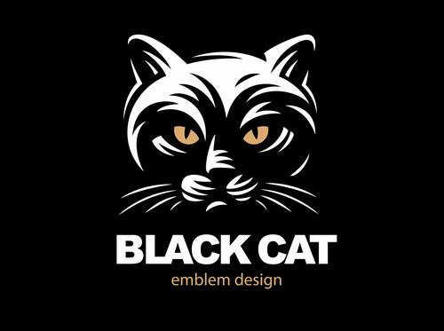 Black cat emblem design vector
