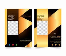 Black gold cover company brochure design vector