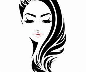 Black long-haired girl vector