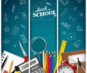 Blue background back to school banner vector