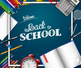 Blue background back to school vector