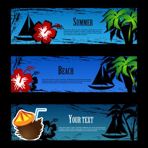 Blue background summer banner vector