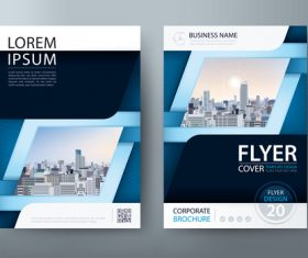Blue cover company brochure vector