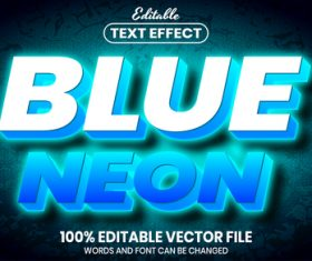 Blue neon text font style vector
