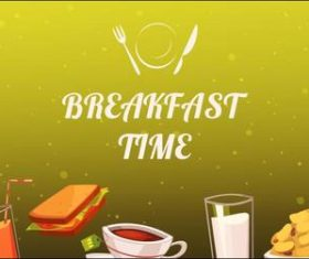 Breakfast time illustration vector
