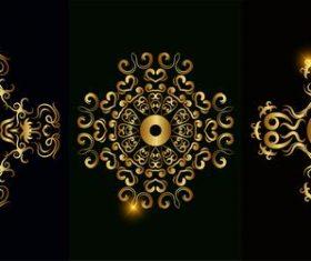Bright gold mandala ornament vector