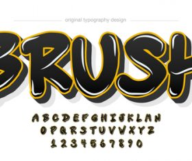 Brush typography graphic style vector text effect