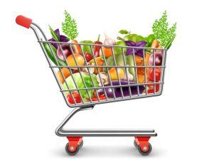 Buy vegetables fruits vector