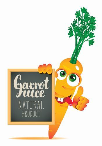 Carrot cartoon with text in blackboard vector