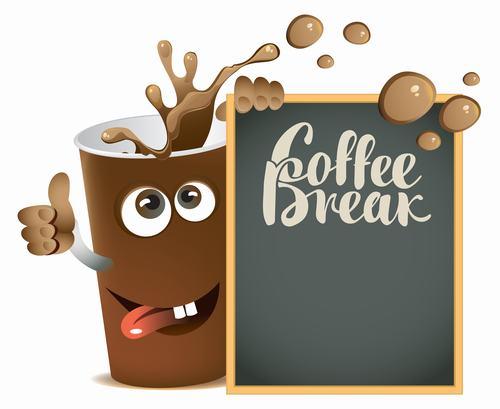 Cartoon coffee with text in blackboard vector