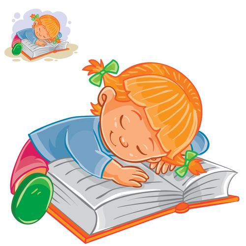 Cartoon little girl sleeping vector