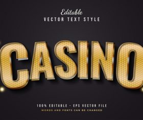 Casino text font style vector