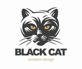Cat emblem design vector