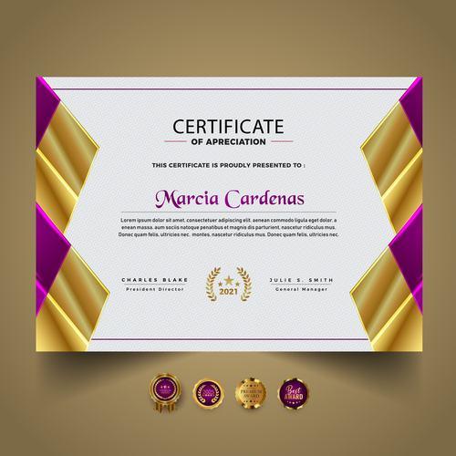 Certificate of apreciation vector