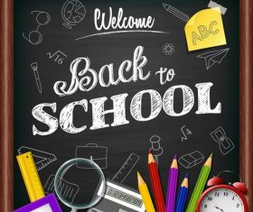 Chalk characters back to school vector