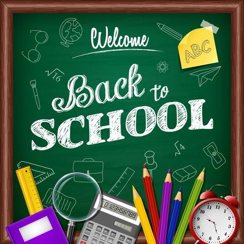 Chalkboard background back to school vector