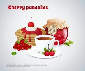 Cherry pancakes illustration vector