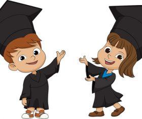 Children graduation cartoon vector