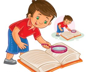 Children holding magnifying glass and reading book vector