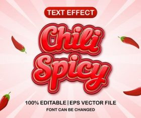 Chili spicy text effect vector