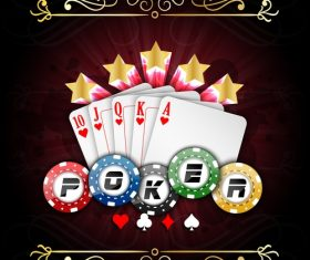 Chips and poker vector