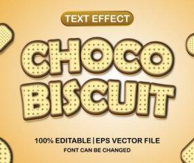 Choco biscuit text effect vector