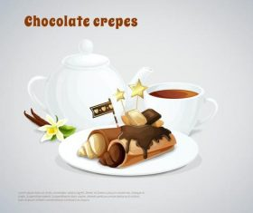Chocolate crepes vector