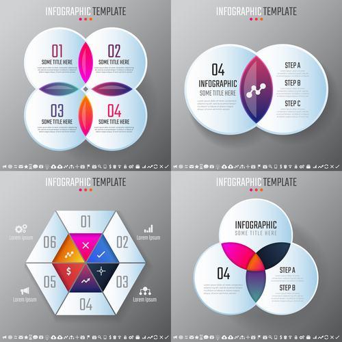 Circular and hexagonal infographic vector
